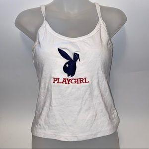 "Playboy ""Play Girl"" White Cami Tank Top"
